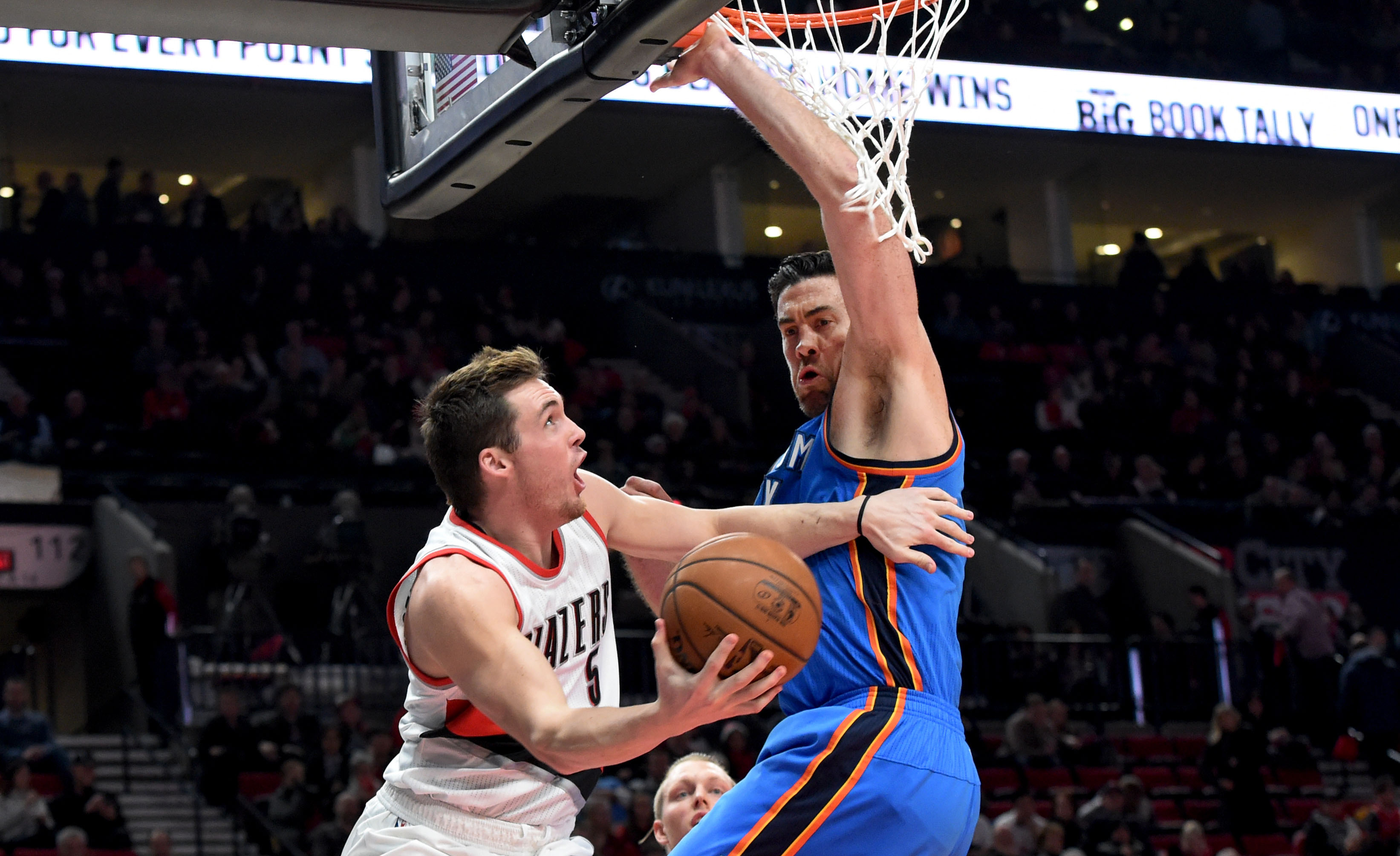 Dec 13 2016 Portland Or Usa Trail Blazers Guard Pat Connaughton 5 Drives To The Basket On Oklahoma City Thunder Forward Nick Collison 4
